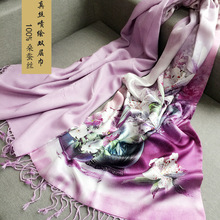 100% double silk silk scarf female digital printing factory wholesale pashmina(China)