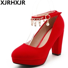 Buy XJRHXJR Big Size31-48 Shoes Woman Fashion Square Heel Round Toe Wedding Party Shoes Women Pumps Ladies Platform Rhinestone Shoes for $31.61 in AliExpress store