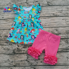 New Printing Mermaid Flutter Dress With Icing Shorts Set Mermaid Icing Shorts Set Cotton Shorts Outfit