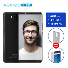 Vernee X 6.0 Inch 6200mAh 18:9 FHD Smartphone 4G LTE Cell Phone Face ID 4GB RAM 64GB ROM MTK6763 Octa Core 16.0 MP Mobile Phone(China)
