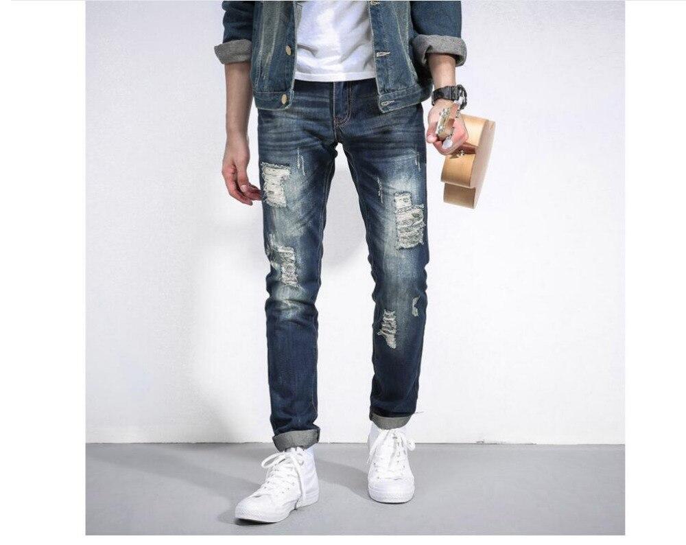New winter mens jeans male slim hole Mens small straight jeans wholesale price western design DY99Îäåæäà è àêñåññóàðû<br><br>