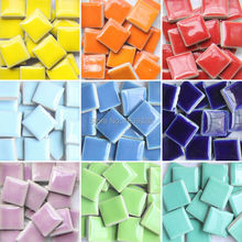 DIY colorful mosaic tiles craft 200 pcs garden aquarium decoration natural glass stone and minerals square marble ceramic mosaic(China)