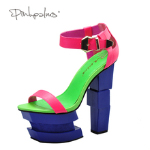 Pink Palms summer sandals sexy women high heels sandals sweetly blush fashion buckle thick women platform sandals(China)