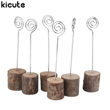 Kicute 6Pcs Natural Wooden Paper Clip Wedding Table Number Place Name Memo Photo Card Stand Holder For Office Supplies