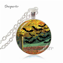 2017 Halloween Greeting Vintage Children Girl Boy Pumpkin Jack o Lantern Glass Tile Pendant Necklace Jeweley Holiday Gifts