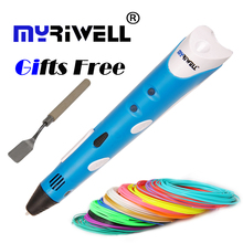 Myriwell 3D Printing Pen1.75mm ABS Smart 3d drawing pen+Free Filament+Adapter Creative Gift For Kids Design Painting high qualit