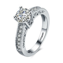 Women Bride Wedding Engagement Ring 18 K White Gold Setting Bling Solid Zircon Toothed Rim Ring Femme Bague Charm Jewelry(China)