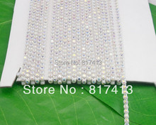 SS6 B grade white AB crystal glass 2mm Rhinestones white plastic cup banding crafts clothes applique wedding setting chain 10yd(China)