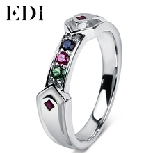 EDI 925 Sterling Silver Simulated Ruby Sapphire Ring For Women Unique Harley Quinn Rings Fine Jewelry Engagement(China)