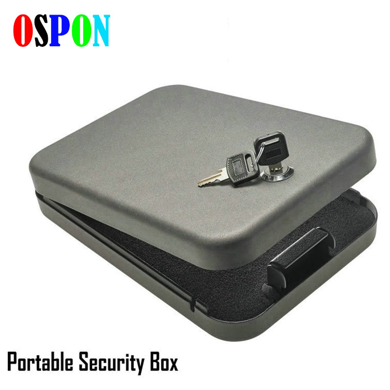 OSPON tactical security key portable car safe box handgun valuables money jewelry storage box strongbox cold-rolled steel sheet<br>
