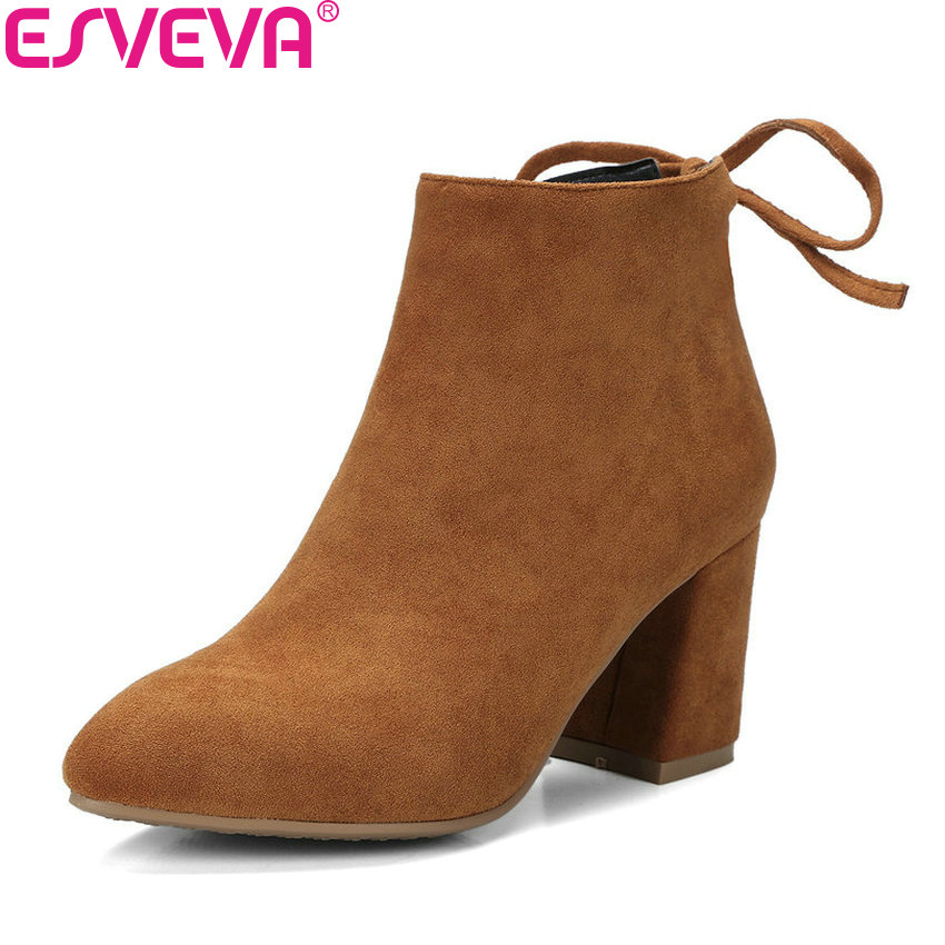 ESVEVA 2018 Women Boots Concise Square High Heel Handmade Ankle Boots Slim Look Pointed Toe Warm Fur Boots for Women Size 34-42<br>