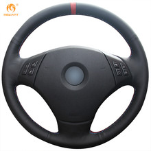 Mewant Black Genuine Leather Car Steering Wheel Cover for BMW E90 320 318i 320i 325i 330i 320d X1