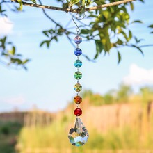 H&D Chakra Octagon Beads 50mm Crystal Lily Suncatcher Pendant Wedding Home Ornament Christmas Tree Garland Rainbow Maker Decor(China)