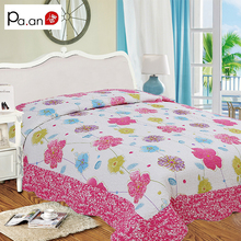 New Pink 100% Cotton Girls Quilt Patchwork Flower Printed Children Bed Cover Soft Air-conditioner Quilting for Kids 140x220cm(China)