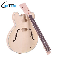 Unfinished DIY Electric Guitar Kit Semi High Quality Hollow Basswood Body Rosewood Fingerboard Maple Neck