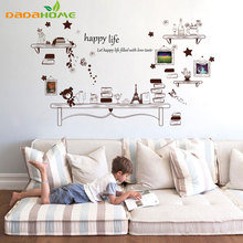diy Winnie Frame Bookshelf Stickers Artistic Backdrop  Living Room Bedroom Sofa Children's room Vinyl Home decor Wall Sticker