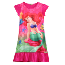 Rose Red Children Girls Little Mermaid ARIEL Girls Cotton Dress Skirt Pajama Nightgown Set
