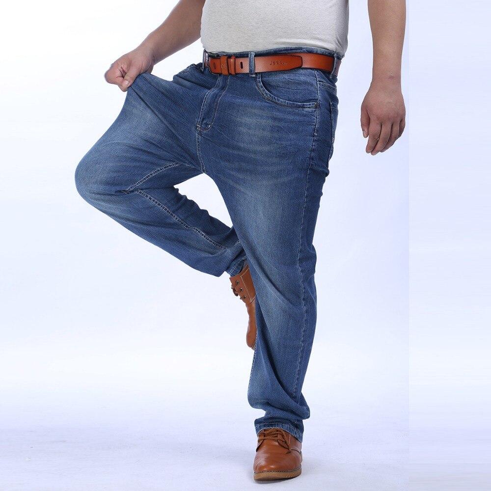 52 48 46 44 42 9XL 8XL 7XL 6XL 5XL Men Slim Casual Pants Elastic Men`s Jeans LIght Blue Quality Cotton Denim Brand Jeans For MenÎäåæäà è àêñåññóàðû<br><br>