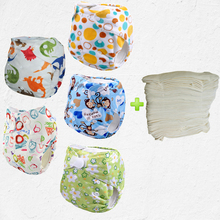 Washable and reusable nappy,waterproof fabric for cloth diapers,waterproof fabric for cloth With 5pcs Bamboo Inserts(5sets)