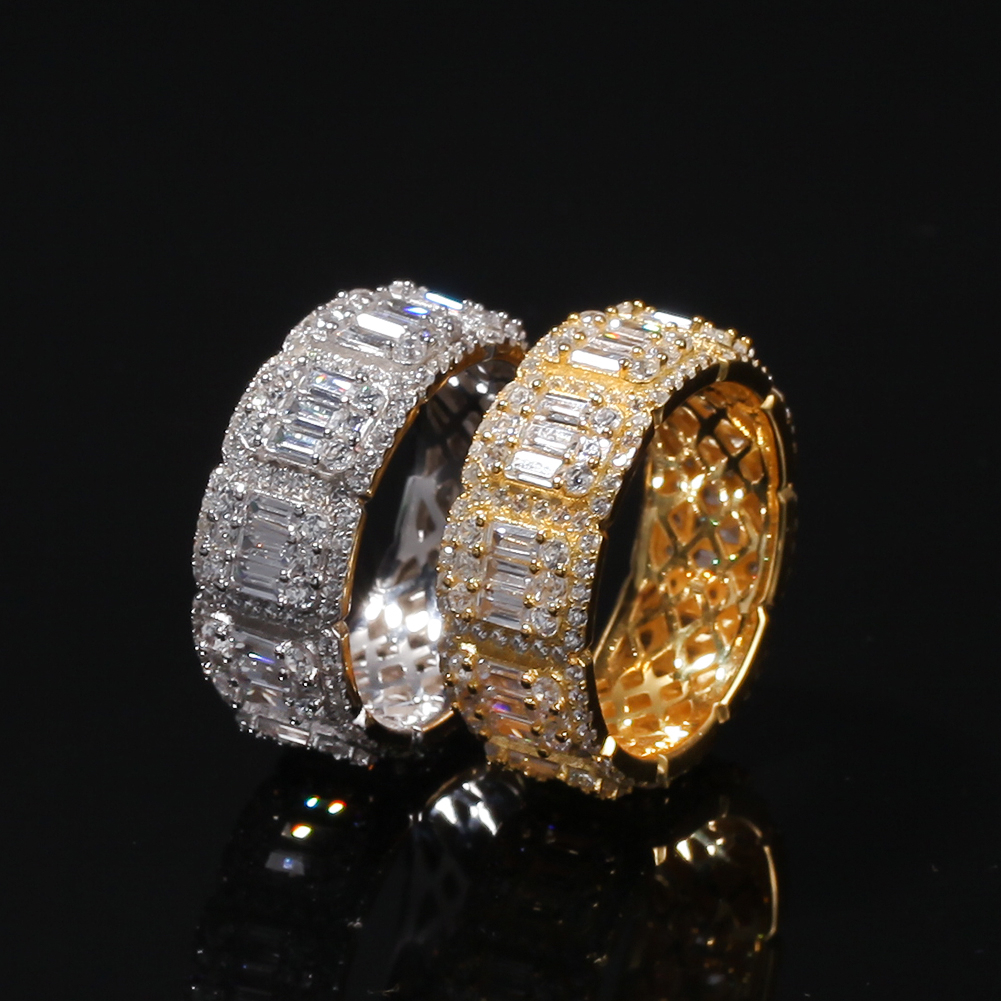 Xusamss Fashion Stainless Steel Double Row Iced Out Crystal Band Ring