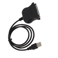 Black Bi-directional Parallel Interface Communication USB to 25 Pin DB25 Parallel Printer Cable Adapter Cord Converter