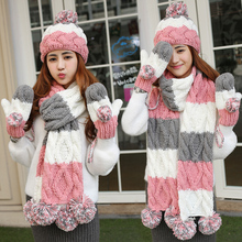 Christmas birthday gift girls winter multi-colored knitted hat scarf gloves three pieces set one piece(China)