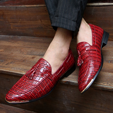 Top Quality PU Leather Business Casual Men Shoes Nice Summer Tassel Crocodile Pattern Bullock Pointed Toe Male Oxfords Shoes(China)