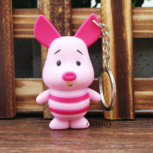 Cartoon Cute Pink Pig Piglet LED Keychain with Sound and Light PVC Key Ring Pendant Chaveiro Gift 6cm AK0069