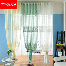 European Rustic White Window Tulle Curtains For Living Room Balcony Blue Floral Sheer For Bedroom Yellow Voile Drapes AG0172