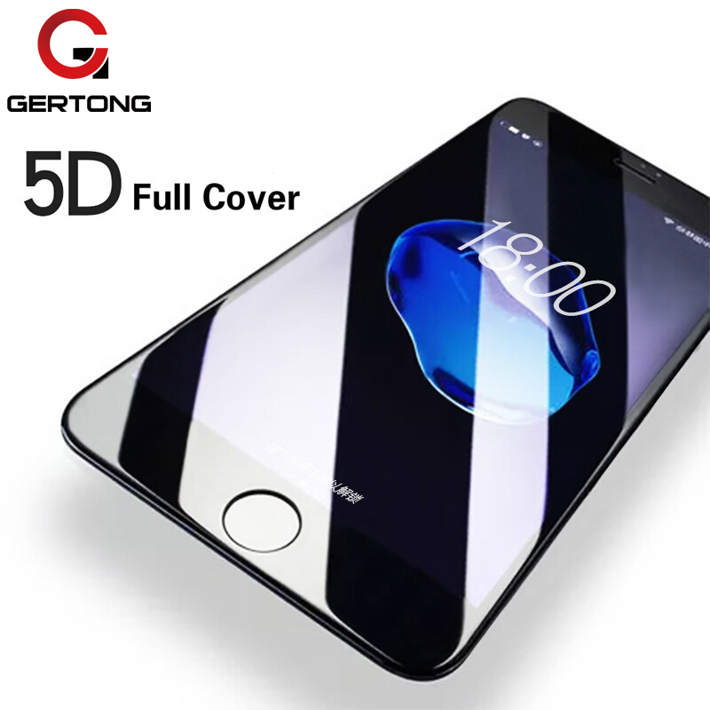 GerTong 5D HD Toughened Glass iPhone 8 7 6 6s Plus X Full Screen Protector iPhone 7Plus Tempered Glass Cover Film Curved