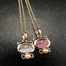 Fashion Jewelry Lucky Cat Necklace Ladies Cat Eye Stone Stone Necklace Pendant Clavicle Chain Wholesale Sweater Chain Wholesale
