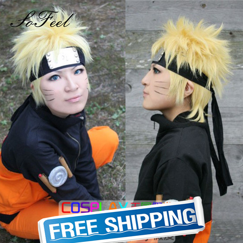 Sofeel synthetic wigs Hokage Ninjia uzumaki naruto short yellow hair cosplay wigs pelucas high temperature fiber free shipping<br><br>Aliexpress