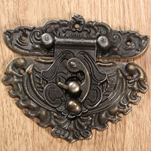 1Pc 86x75mm Antique Bronze Iron Latch Decorative Jewelry Gift Wine Wooden Box Suitcase Case Hasp Latch Hook With Screws(China)