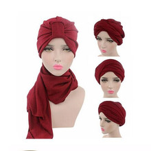 Fashion Women Muslim Turban Head Wrap Extra Long Scarf Multi Function Cap Headwrap Bandanas(China)