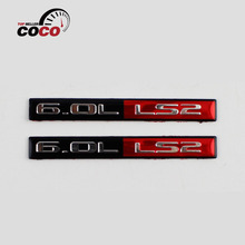 2pcs car styling CAR ENGINE FENDER EMBLEM BADGE 6.0L LS2 LOGO auto Racing Running Decal Continuity Sticker BLACK RED CHROME