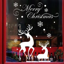 Weeding Decoration Vinyl Christmas Shop Window Background Glass display White Snowflakes Reindeer Decorative Wall Stickers