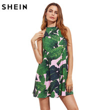 SHEIN Summer Womens Green Sleeveless Cut Out Back A Line Dress Jungle Leaf Print V Cut Back Halter Trapeze Dress(China)