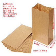 100pcs 18x9x5/22x12x7/24x13x8/27x15x9/30x15x10cm Brown/white Kraft Paper Gift Sandwich Bread take out Bags Party Wedding Favour(China)