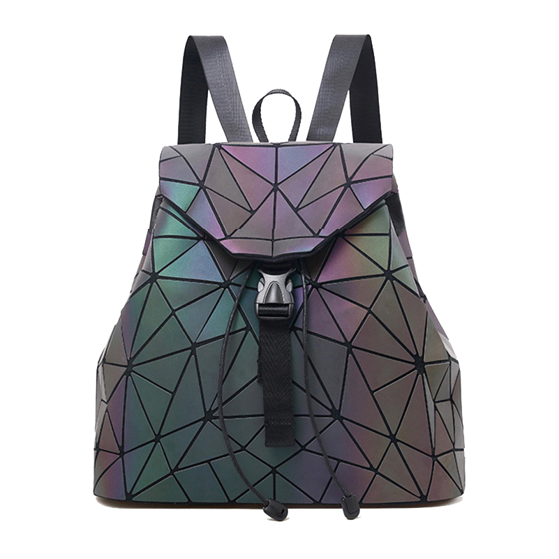 Nevenka Luminous Backpack Women Leather Geometric Backpacks Diamond Lattice Backpack Travel Girls Casual Daypacks Fashion 201805