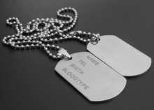 men's military army titanium steel blank double dog tag pendent necklace army card charm pendant with 2 round bead chain for men