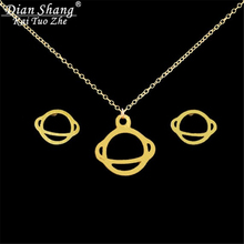 DIANSHANGKAITUOZHE Stainless Steel Jewelry Set Gold Chains Silver Tattoo Choker Necklace Space Saturn Earring For Women BFF