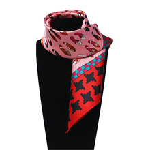 60cm*60cm Women Fashion Imitated Silk Brand high-heeled shoes Houndstooth Swallow girdand Printed Lady Square Scarf Hot Sale(China)