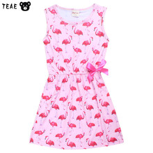 TEAEGG Love Bird Flamingo Sleeveless Vest Sheath Dresses Summer Party Bowknot Casual Costume for Children Sleep Nightgown(China)