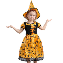 Punky Child Wicked Pumpkin Witch Signature Halloween Style Costume Great Trick Or Treat Oufit Girls 3-8y(China)