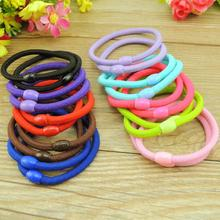 TS 50pcs rope high elastic black plate made of nylon plastic buckle withholding colored beads circle hair accessories head band