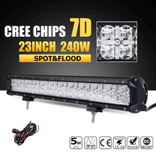 Oslamp 7D CREE Chips 240W 23inch LED Light Bar Beam Combo Led Work Lamp Offroad Led Bar Lights for Truck SUV ATV 4x4 4WD 12v 24v