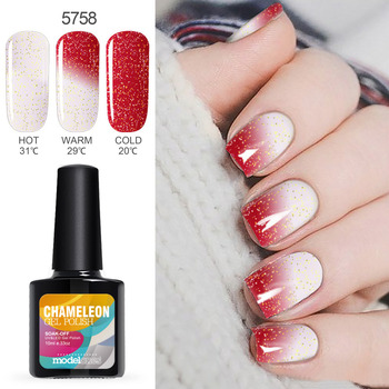 Modelones Temperature UV Nail Gel Polish Red Color Change UV Gel Polish 10ML Nail Art Chameleon Thermo Led Gel Nail Primer