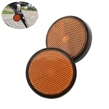 Orange Round Decorative Reflectors Reflective Plate Universal For Motorcycle Scooter ATV Dirt Bike Moped 2 x 2''(China)
