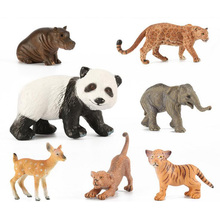 Zoo Panda Deer Tiger Leopard Hippo Lion Elephant Cow Plastic Animal Figurine Toys ornaments decoration Gift for children Kids(China)