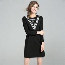 Buy High Women Autumn Sexy Dress 2017 Casual elegant Black Long Sleeve Round Neck Drop Waist Line Party Dress Vestidos for $22.88 in AliExpress store
